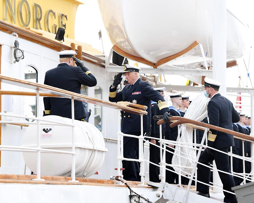 OSLO, NORWAY- MAY 6: King Harald V and Crown Prince Haakon attend an inspection of the Royal Yacht Norge on May 6, 2021 in Oslo, Norway. (Photo by Rune Hellestad/ Getty Images).