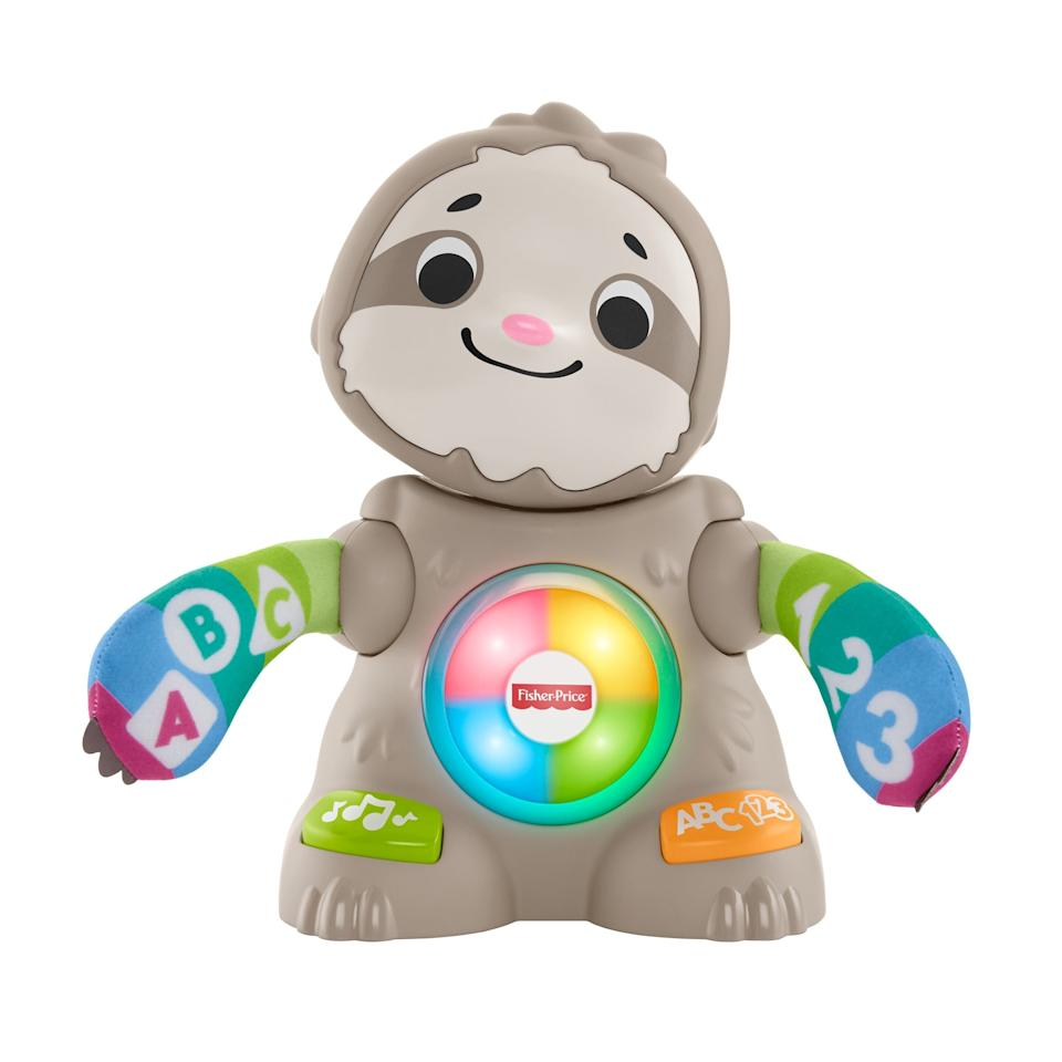 """<p>The <a href=""""https://www.popsugar.com/buy/Fisher-Price-Linkimals-Smooth-Moves-Sloth-486760?p_name=Fisher-Price%20Linkimals%20Smooth%20Moves%20Sloth&retailer=target.com&pid=486760&price=30&evar1=moms%3Aus&evar9=46571794&evar98=https%3A%2F%2Fwww.popsugar.com%2Fphoto-gallery%2F46571794%2Fimage%2F46571805%2FFisher-Price-Linkimals-Smooth-Moves-Sloth&list1=shopping%2Ctarget%2Ctoys%2Cgift%20guide%2Cparenting%20gift%20guide%2Ckid%20shopping%2Cbest%20of%202019&prop13=api&pdata=1"""" rel=""""nofollow"""" data-shoppable-link=""""1"""" target=""""_blank"""" class=""""ga-track"""" data-ga-category=""""Related"""" data-ga-label=""""https://www.target.com/p/fisher-price-linkimals-smooth-moves-sloth/-/A-76151380"""" data-ga-action=""""In-Line Links"""">Fisher-Price Linkimals Smooth Moves Sloth</a> ($30) is for babies ages 9 months and up and focuses on baby's gross motor development.</p>"""