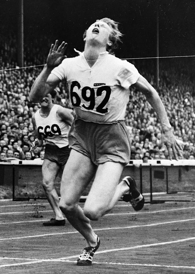 "This Aug. 4, 1948 file photo shows Fanny Blankers-Koen, of Netherlands, crossing the finish line of the 80-meter hurdle final of the 1948 Olympic Games at Wembley Stadium in London. Blankers-Koen, who was one of the biggest stars of the 1948 London Olympics, was originally left off a new map of the London Underground dedicated to past Olympians, prompting criticism from her homeland. But on Wednesday, April 4, 2012, the track star known as the ""Flying Housewife"" was added to the list for future prints. (AP Photo/File)"