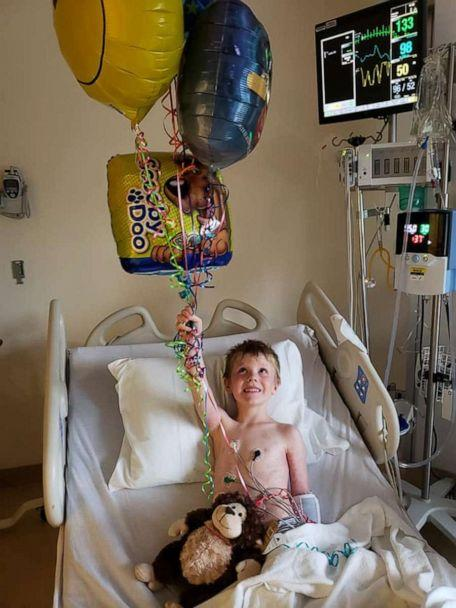 PHOTO: Adam Leeson, 5, recovers at Peyton Manning Children's Hospital in Indianapolis, Indiana after he was rescued from a swimming pool. (Maribeth Leeson)