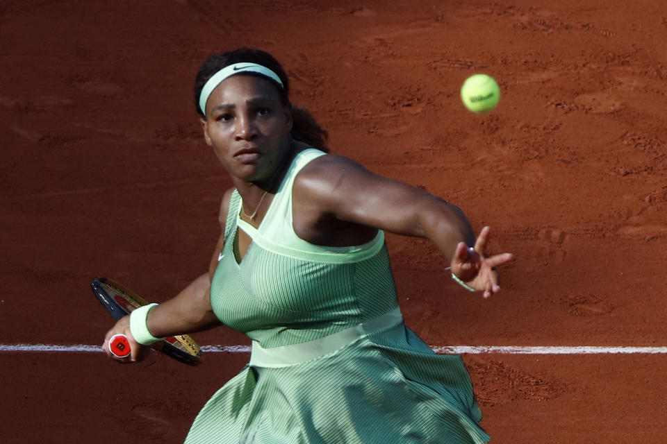Serena Williams of the United States in action against Elena Rybakina of Kazakhstan in the 4th round of the singles on Court Philippe-Chatrier during the French Open Tennis Tournament at Roland Garros in Paris, France on June 06, 2021.(Photo by Mehdi Taamallah/NurPhoto via Getty Images)