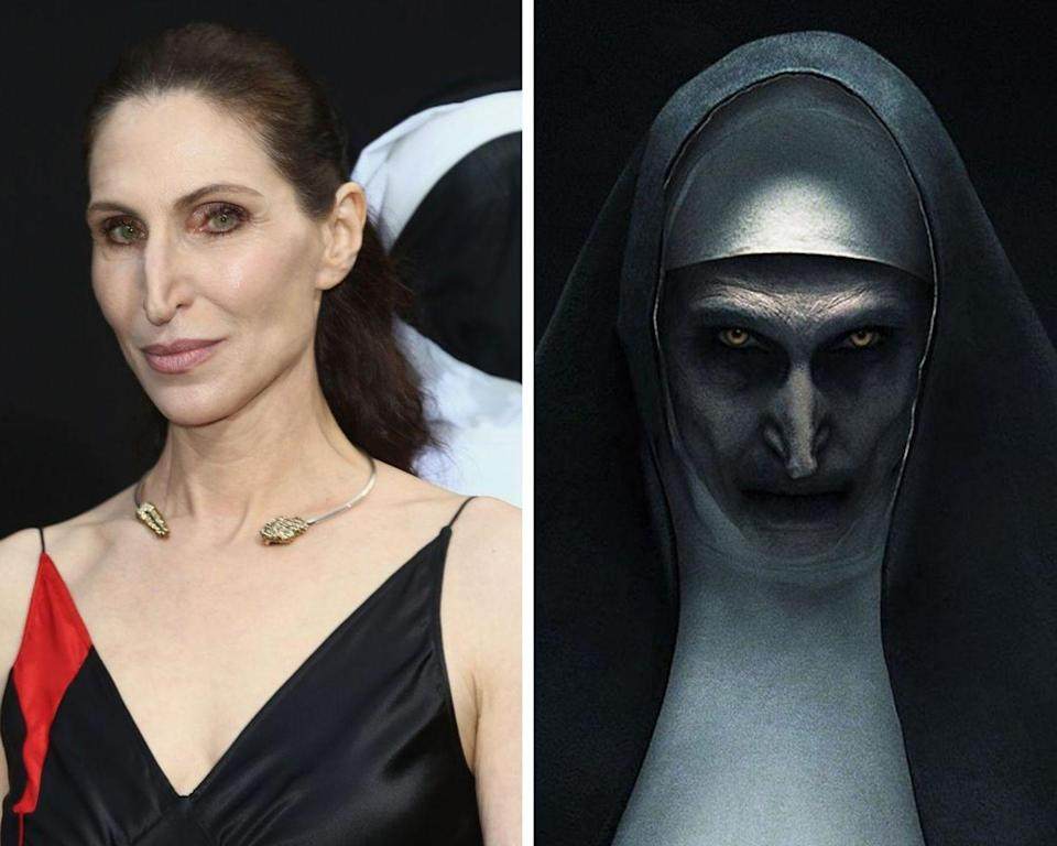 <p>The Nun was never meant to become the face of <em>The Conjuring </em>franchise, but strong fanfare behind the terrifying demonic figure shook things up. The character first appeared in 2016's <em>The Conjuring 2</em>, after she was added in during last-minute reshoots. But once audiences caught eye of the eerie demon, the character quickly became a fan favorite. She then made a brief appearance in the follow-up <em>Conjuring</em> installment, <em>Annabelle: Creation</em>, and eventually went on to receive a spin-off, appropriately titled, <em>The Nun</em>. Aarons, the actress who has portrayed the character in every outing, has also appeared in <em>Mulholland Drive</em> and <em>Silver Linings Playbook</em>.</p>