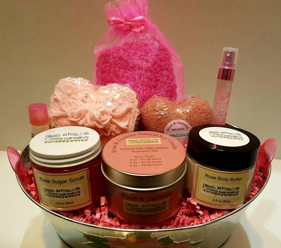 "<h2>Natural Aromatherapy Gift Basket</h2><br>The ultimate gift basket; one that's filled with relaxing fragrances and soaks to enhance every bathtime or nighttime routine. This shop also has a <a href=""https://fave.co/33gAaiH"" rel=""nofollow noopener"" target=""_blank"" data-ylk=""slk:fantastic men's gift basket"" class=""link rapid-noclick-resp"">fantastic men's gift basket</a>. <br><br><em>Shop </em><strong><em><a href=""https://www.etsy.com/shop/NanasNaturalsShop"" rel=""nofollow noopener"" target=""_blank"" data-ylk=""slk:Nanas Naturals Shop"" class=""link rapid-noclick-resp"">Nanas Naturals Shop</a></em></strong><br><br><strong>NanasNaturalsShop</strong> Natural Aromatherapy Gift Basket, $, available at <a href=""https://go.skimresources.com/?id=30283X879131&url=https%3A%2F%2Ffave.co%2F2UXDoTN"" rel=""nofollow noopener"" target=""_blank"" data-ylk=""slk:Etsy"" class=""link rapid-noclick-resp"">Etsy</a>"