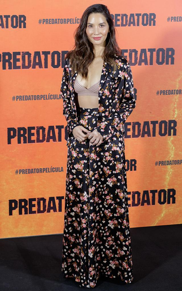 <p>Actress Olivia Munn donned a floral co-ord for the 'Predator' photocall in Madrid on September 4. [Photo: Getty] </p>