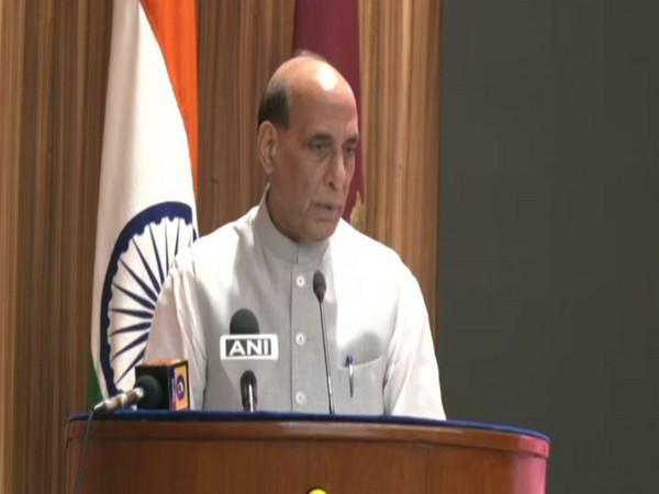Defence Minister Rajnath Singh at National Defence College in New Delhi on Saturday. (Photo/ANI)