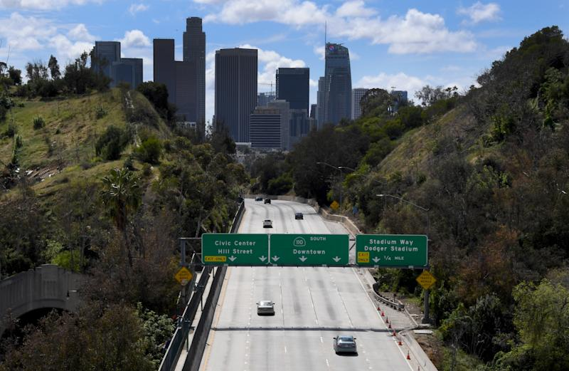 LOS ANGELES, CA - MARCH 25: Light traffic heads toward downtown on the 110 freeway in Los Angeles on Wednesday, March 25, 2020. (Photo by Keith Birmingham/MediaNews Group/Pasadena Star-News via Getty Images)