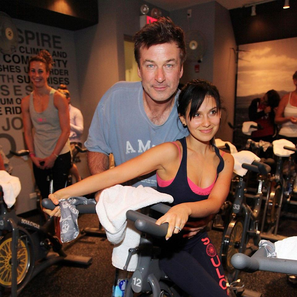 Hilaria and Alec Baldwin at a charity SoulCycle in 2012 - Getty