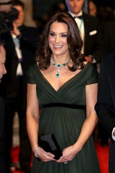 """Royals avoid making overtly political statements so there was little suprise when the Duchess of Cambridge wore a dark green dress to the Bafta awards rather than black worn by stars in solidarity with #MeToo and """"Time's Up"""" (AFP Photo/CHRIS JACKSON)"""