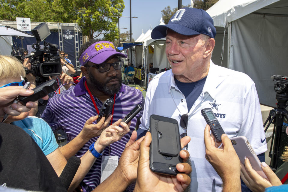 Dallas Cowboys owner Jerry Jones has reportedly been told by the NFL to not talk about the anthem policy. (AP)
