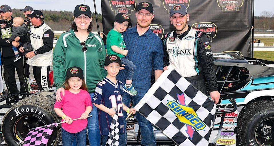 THOMPSON, CT - APRIL 7: Justin Bonsignore, driver of the #51 Phoenix Communications Inc. Chevrolet, celebrates in victory lane after winning the NASCAR Whelen Modified Tour Icebreaker 150 on April 7, 2019 at Thompson Speedway Motorsports Park in Thompson, Connecticut. (Adam Glanzman/NASCAR)