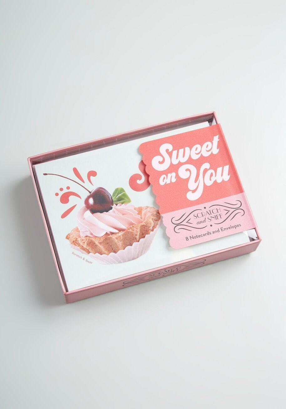 <p>How adorable is this <span>Sweet On You: Scratch-and-Sniff Stationery Set</span> ($20)?</p>