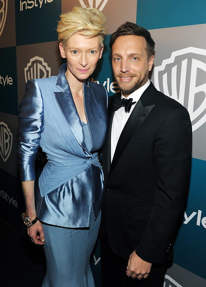 BEVERLY HILLS, CA - JANUARY 15:  Actress Tilda Swinton and  Editor of InStyle Ariel Foxman attend the InStyle and Warner Bros. 69th Annual Golden Globe Awards Post-Party at The Beverly Hilton hotel on January 15, 2012 in Beverly Hills, California.  (Photo by John Shearer/Getty Images for InStyle)