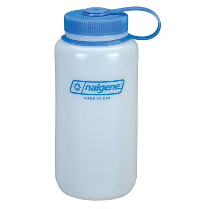 """<p><strong>Nalgene Ultralite Wide-Mouth (32oz)</strong></p><p>amazon.com</p><p><strong>$5.99</strong></p><p><a rel=""""nofollow"""" href=""""http://www.amazon.com/dp/B000KA6AOU/"""">Buy</a></p><p>Nalgene's Ultralite water bottle has BPA-free plastic, a wide mouth, and a carrying strap. It isn't fancy, but it will get the job done.  </p>"""