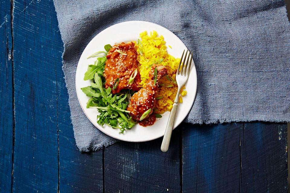 """<p>Chicken mole features succulent, dark-meat chicken simmered in a rich, savory sauce of onions, tomatoes, chili powder and a touch of chocolate (yes, really!).</p><p><em><a href=""""https://www.goodhousekeeping.com/food-recipes/a36077780/chicken-mole-recipe/"""" rel=""""nofollow noopener"""" target=""""_blank"""" data-ylk=""""slk:Get the recipe for Chicken Mole »"""" class=""""link rapid-noclick-resp"""">Get the recipe for Chicken Mole »</a></em></p>"""