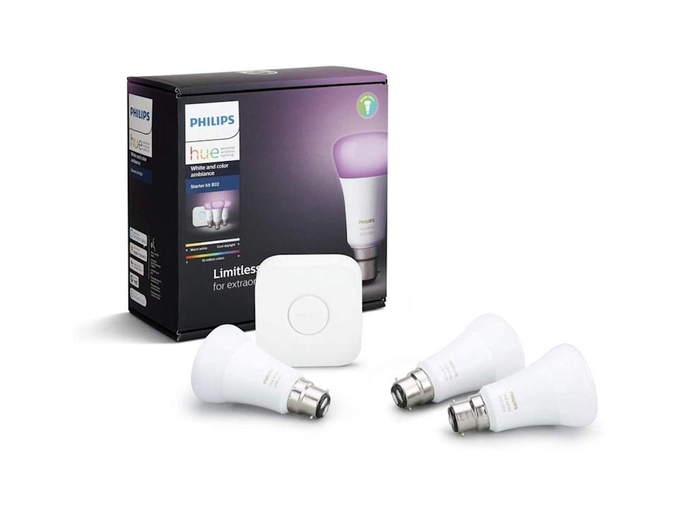 Philips hue white and colour ambiance wireless lighting B22 bayonet cap starter kit: Was £106.98, now £74.99, Amazon.co.uk (Philips)