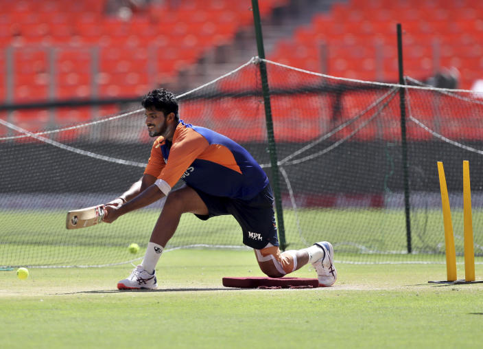 India's Washington Sundar trains during a practice session ahead of the fourth test cricket match between India and England at Narendra Modi Stadium in Ahmedabad, India, Wednesday, March 3, 2021. (AP Photo/Aijaz Rahi)