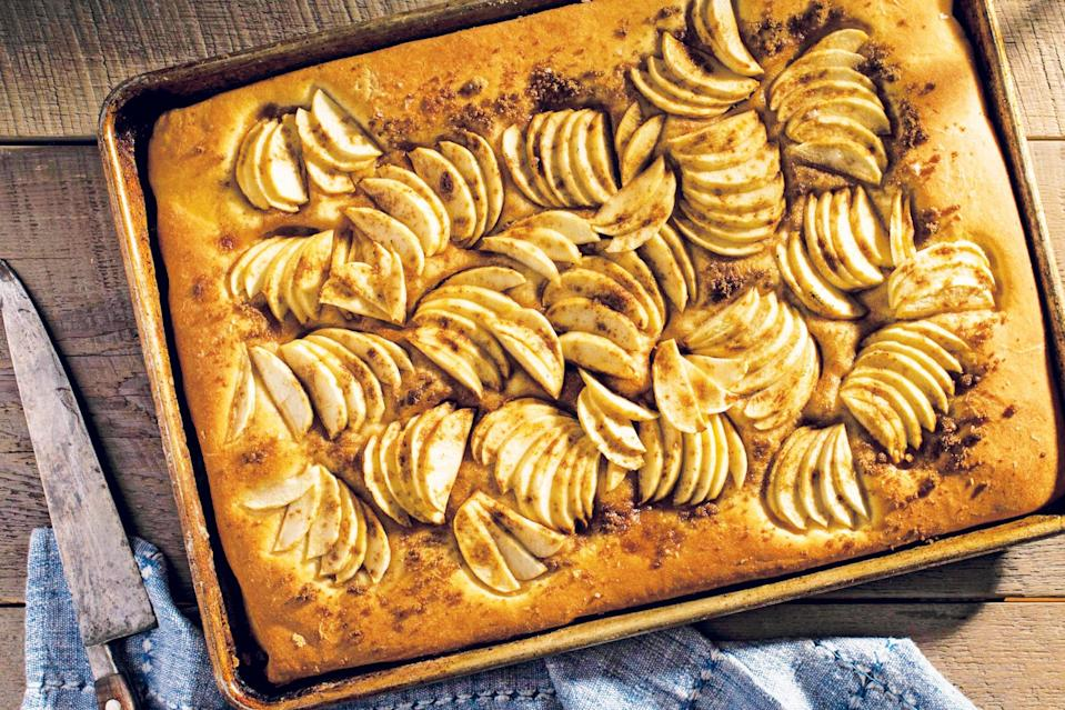 "Brioche makes a lovely base for fruit in baked pastries—so why not a tart? You can use any fruit or nut here, but this version, with thin slices of apples and plenty of cinnamon, is a fall favorite. If you like, you can fold the edges of the crust over the fruit, like a galette. <a href=""https://www.epicurious.com/recipes/food/views/apple-brioche-tart?mbid=synd_yahoo_rss"" rel=""nofollow noopener"" target=""_blank"" data-ylk=""slk:See recipe."" class=""link rapid-noclick-resp"">See recipe.</a>"
