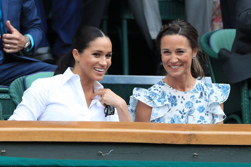 """<p>Meghan Markle made a habit of wearing dainty turquoise jewelry by the celebrity-adored designer Jennifer Meyer for several events she attended after her son Archie's birth in the spring of 2019. Here, she was photographed at Wimbledon that summer wearing a pair of turquoise and gold bar earrings. </p><p><a class=""""link rapid-noclick-resp"""" href=""""https://go.redirectingat.com?id=74968X1596630&url=https%3A%2F%2Fwww.shopbop.com%2Fjennifer-meyer-jewelry%2Fbr%2Fv%3D1%2F7968.htm&sref=https%3A%2F%2Fwww.townandcountrymag.com%2Fstyle%2Fjewelry-and-watches%2Fg36622601%2Fqueen-elizabeth-meghan-markle-turquoise-jewelry-photos%2F"""" rel=""""nofollow noopener"""" target=""""_blank"""" data-ylk=""""slk:Shop Jennifer Meyer"""">Shop Jennifer Meyer</a></p>"""