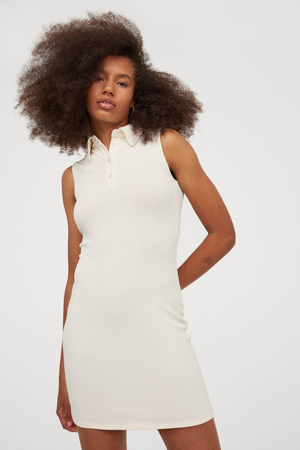 <p>This <span>H&amp;M Ribbed Dress</span> ($18) can be incorporated into a sporty look with the help of a baseball cap and some chunky dad sneakers. It can also be made dressier with some sleek mules and a small shoulder bag.</p>