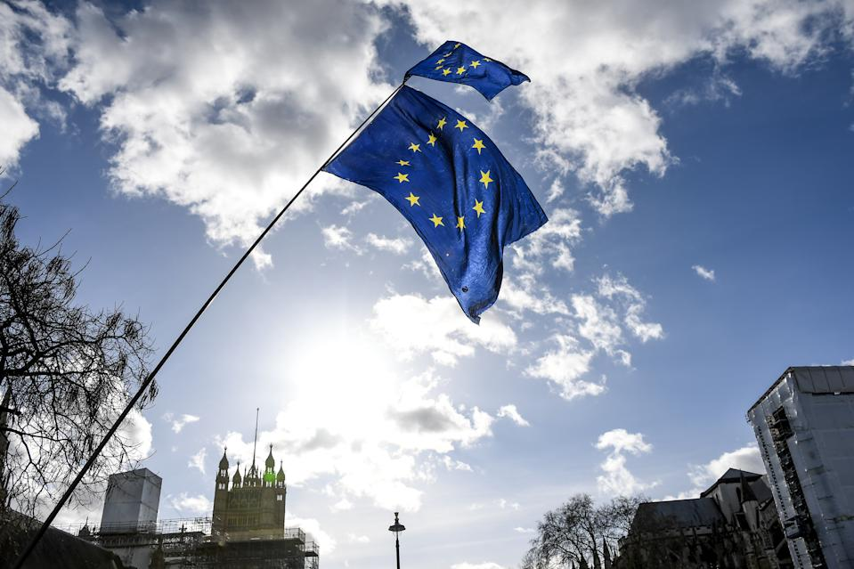 Anti Brexit demonstrators gather outside the Houses of Parliament on 12 February, 2020 in London, England. (Photo by Alberto Pezzali/NurPhoto via Getty Images)