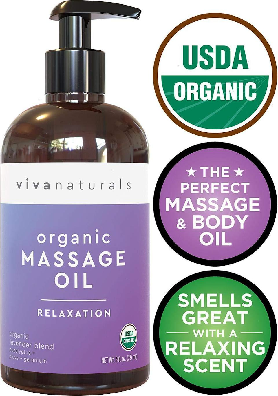 """<h3>Certified Organic Lavender Massage Oil </h3><br>This little purple bottle is an Amazon's Choice good, boasting over 300 rave reviews and a whopping 4.8 out of 5-star rating. The certified organic formula is crafted from a blend of lavender, coconut, sunflower, almond, and jojoba oils; it can be used for massages (sensual or otherwise); and is deemed by customers to be utterly soothing, amazingly scented, and the absolute best on the market.<br><br><strong>4.8 out of 5 stars and 548 reviews</strong><br><br><strong>Viva Naturals</strong> Organic Massage Oil with Relaxing Lavender Scent, $, available at <a href=""""https://www.amazon.com/Certified-Organic-Massage-Relaxing-Lavender/dp/B07R442KKY"""" rel=""""nofollow noopener"""" target=""""_blank"""" data-ylk=""""slk:Amazon"""" class=""""link rapid-noclick-resp"""">Amazon</a>"""