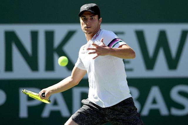 Lucky loser: 130th-ranked Miomir Kecmanovic of Serbia is into the quarter-finals of the ATP Indian Wells Masters after Japan's Yoshihito Nishioka retired while trailing in their fourth-round match (AFP Photo/MATTHEW STOCKMAN)