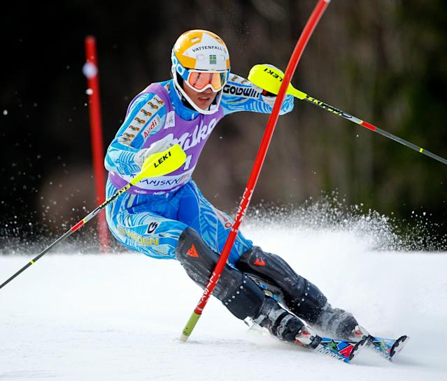 KRANJSKA GORA, SLOVENIA - MARCH 11: (FRANCE OUT) Andre Myhrer of Sweden takes 1st place during the Audi FIS Alpine Ski World Cup Men's Slalom on March 11, 2012 in Kranjska Gora, Slovenia. (Photo by Stanko Gruden/Agence Zoom/Getty Images)