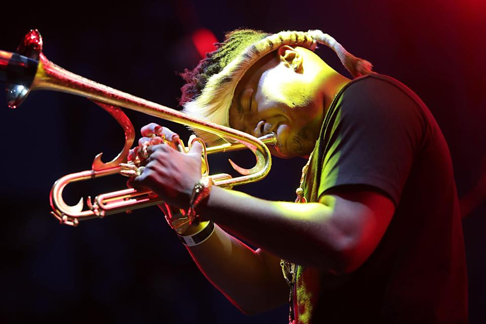 U.S. jazz trumpeter Christian Scott performs on stage during the Nice's Jazz Festival on July 17, 2018 in Nice, southeastern France.