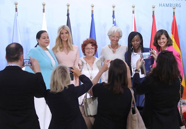"<p>From left: the manager of Holmarcom Group, Meriem Bensalah, the daughter of President Donald Trump, Ivanka, the founder of Enda inter-Arabe, Essma ben Hamida, International Monetary Fund Managing Director Christine Lagarde, the founder of Quali Health, Nthabiseng Legoete and an unidentified participant pose for media as they take part in a panel discussion ""Launch Event Women's Entrepreneur Finance Initiative"" during the G-20 summit in Hamburg, Germany, Saturday, July 8, 2017. (Photo: Michael Kappeler/Pool Photo via AP) </p>"