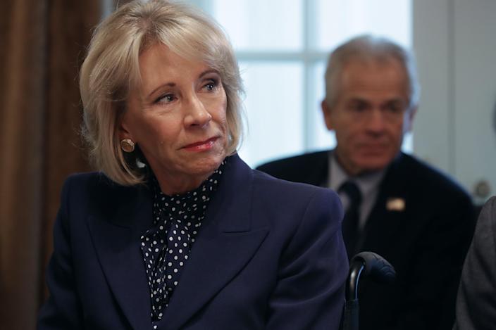 Education Secretary Betsy DeVos during a Cabinet meeting Tuesday. (Photo: Chip Somodevilla/Getty Images)