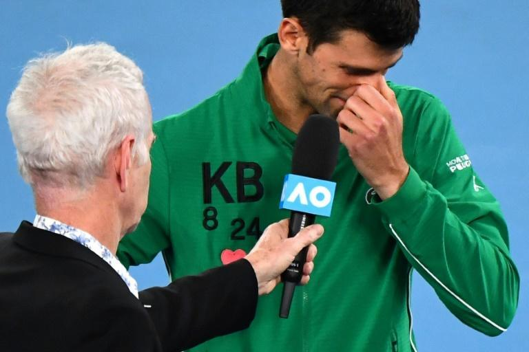 Serbian tennis star Novak Djokovic donned a jersey bearing Bryant's initials and shirt numbers at the Australian Open tennis tournament in Melbourne (AFP Photo/William WEST)