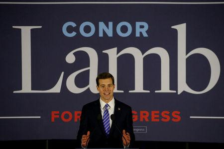 U.S. Democratic congressional candidate Conor Lamb speaks during his election night rally in Pennsylvania's 18th U.S. Congressional district special election against Republican candidate and State Rep. Rick Saccone in Canonsburg, Pennsylvania, U.S., March 13, 2018. REUTERS/Brendan McDermid