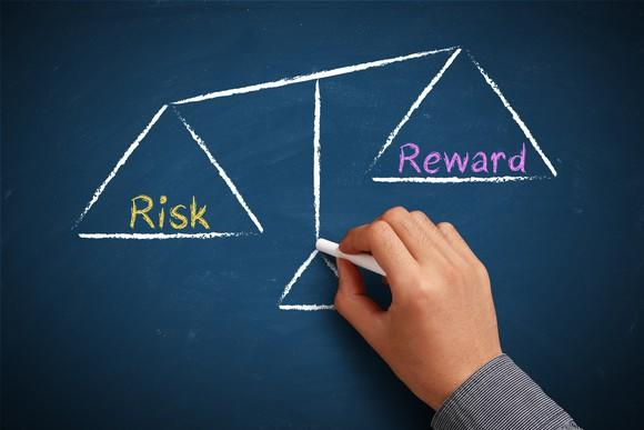 A hand drawing a balance scale weighing risk versus reward