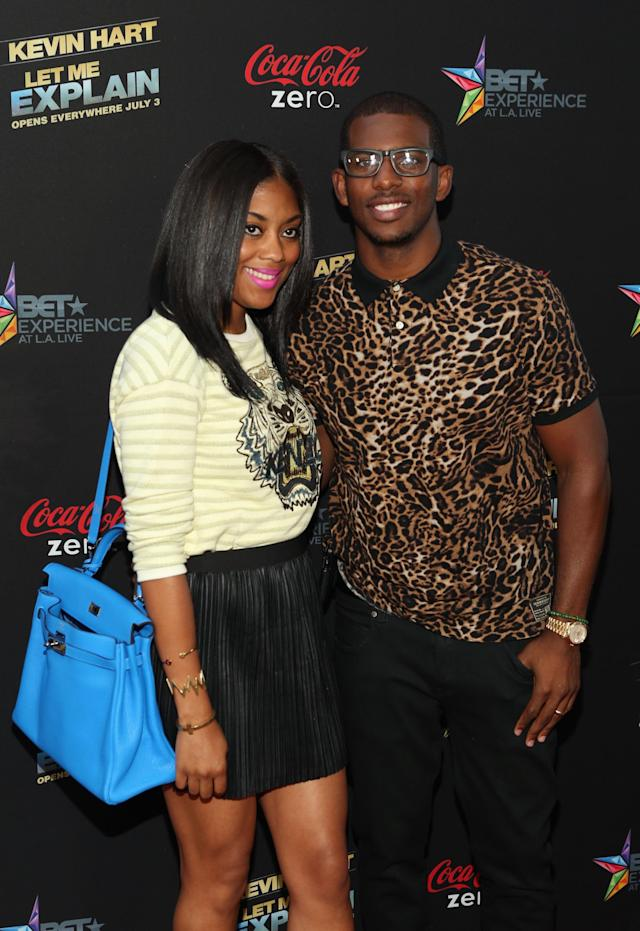 "LOS ANGELES, CA - JUNE 27: NBA player Chris Paul (R) and Jada Paul attend Movie Premiere ""Let Me Explain"" with Kevin Hart during the 2013 BET Experience at Regal Cinemas L.A. Live on June 27, 2013 in Los Angeles, California. (Photo by Jesse Grant/Getty Images for BET)"