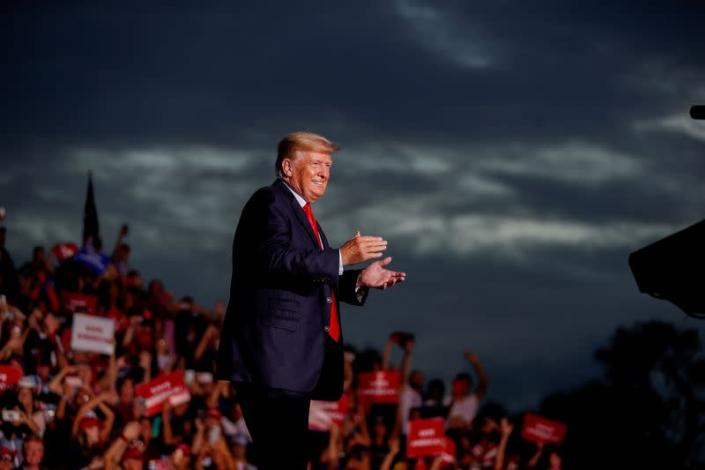 FILE PHOTO: Former President Donald Trump arrives to speak to his supporters during the Save America Rally in Sarasota