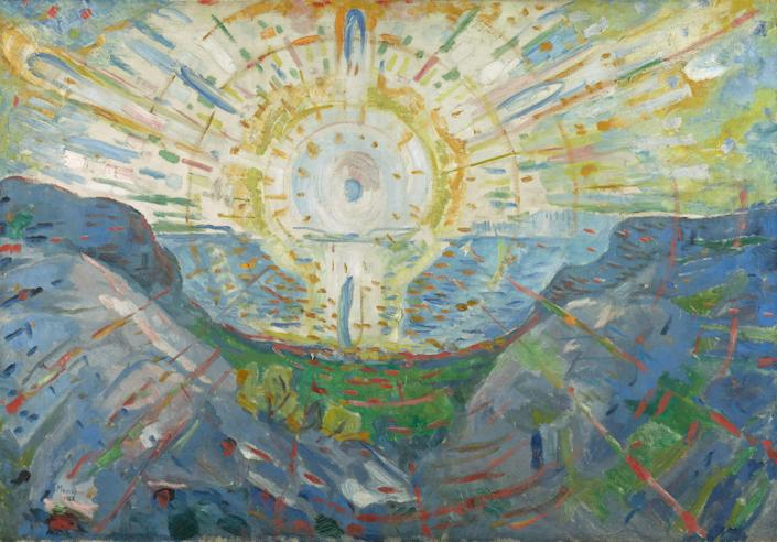 The Sun (1912) by Edvard Munch, a version of the mural he created for the University of Oslo. Courtesy of The Munch Museum.