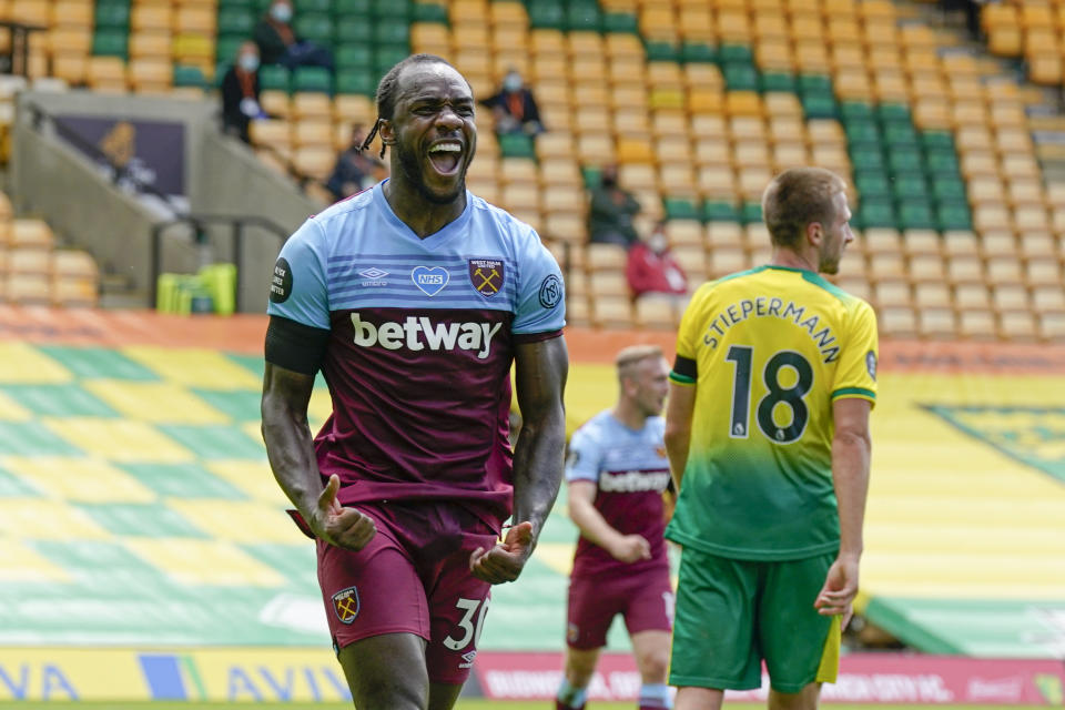 Michail Antonio scored four goals for West Ham in a 4-0 win that helped seal Norwich City's relegation. (Tim Keeton/Pool via AP)