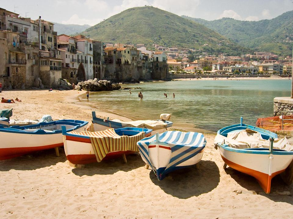 Fishing boats in Cefalu, Sicily.
