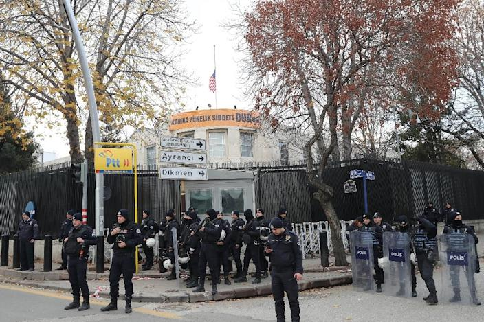 """Turkish anti-riot police secure the area around the US embassy in Ankara in December; the embassy will be shut to the public on Monday over a """"security threat"""" (AFP Photo/ADEM ALTAN)"""
