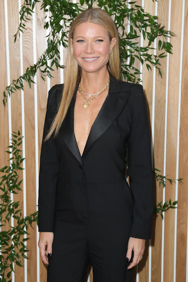 Gwyneth Paltrow dazzles in a black jumpsuit, with an incredible smile on her face