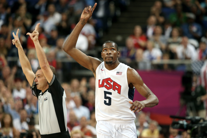 Kevin Durant #5 of the United States celebrates making a three point shot during the Men's Basketball gold medal game between the United States and Spain on Day 16 of the London 2012 Olympics Games at North Greenwich Arena on August 12, 2012 in London, England. (Photo by Christian Petersen/Getty Images)