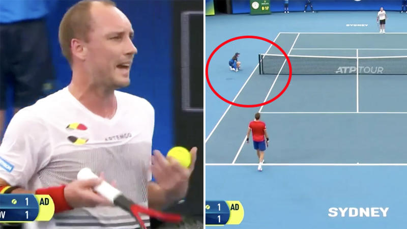 Steve Darcis, pictured here blowing up at the umpire at the ATP Cup.