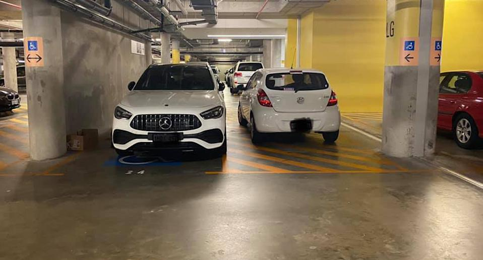 Cars parked in the ACROD zone at the Fiona Stanley Hospital in Perth.