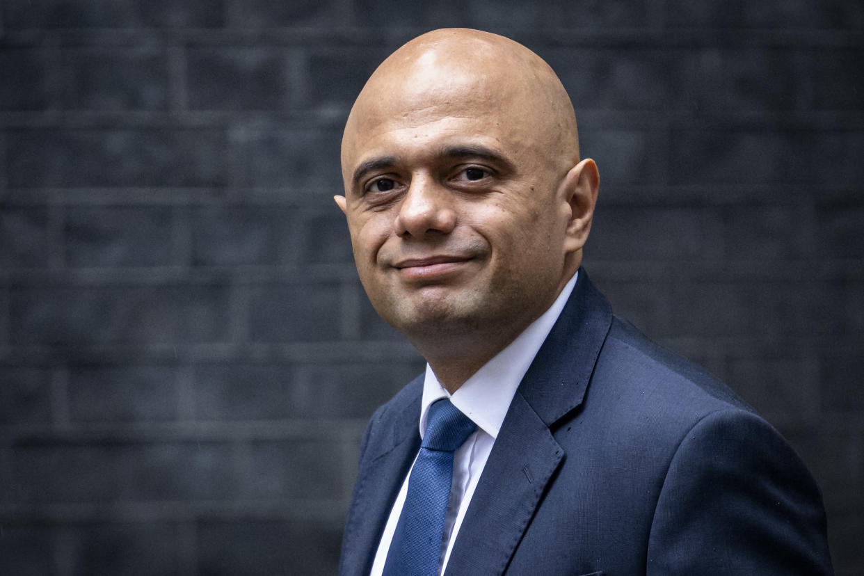 LONDON, ENGLAND - SEPTEMBER 14: Secretary of State for Health and Social Care Sajid Javid at Downing Street on September 14, 2021 in London, England. (Photo by Rob Pinney/Getty Images)