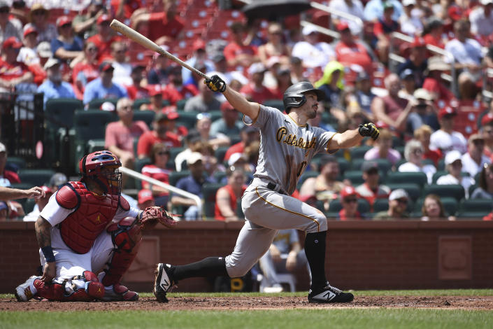 Pittsburgh Pirates' Bryan Reynolds hits an RBI-single during the fourth inning of a baseball game against the St. Louis Cardinals, Sunday, June 27, 2021, in St. Louis. (AP Photo/Joe Puetz)