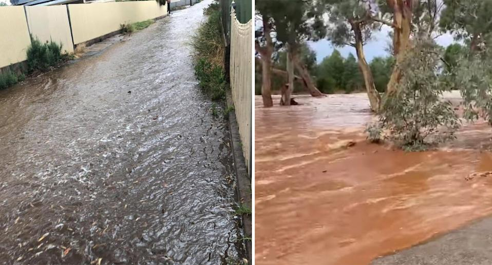 There was flooding in Broken Hill (left) while a creek broke its boundary in Silverton (right). Source: Twitter/KirstiMiller30