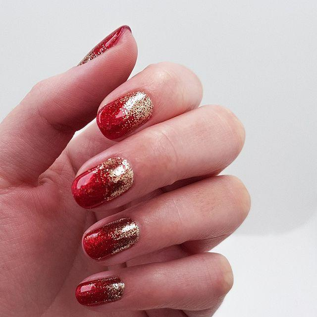 """<p>Can't wait for Christmas? Get in the festive spirit with a red and gold glitter mani.</p><p><a href=""""https://www.instagram.com/p/BrvMzsijbPP/"""" rel=""""nofollow noopener"""" target=""""_blank"""" data-ylk=""""slk:See the original post on Instagram"""" class=""""link rapid-noclick-resp"""">See the original post on Instagram</a></p>"""