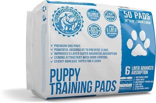 Bulldogology Puppy Pee Pads with Adhesive Sticky Tape