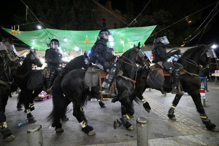 Israeli police on horseback patrolled in Jerusalem on Saturday