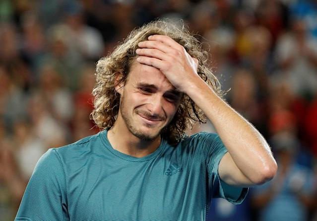 Tennis - Australian Open - Fourth Round - Melbourne Park, Melbourne, Australia, January 20, 2019. Greece's Stefanos Tsitsipas reacts after winning the match against Switzerland's Roger Federer. REUTERS/Aly Song TPX IMAGES OF THE DAY